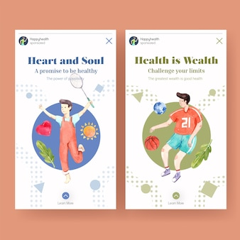 세계 정신 건강의 날 컨셉 디자인 instagram 템플릿