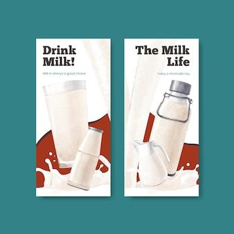 世界のミルクの日のコンセプト、水彩スタイルのinstagramテンプレート