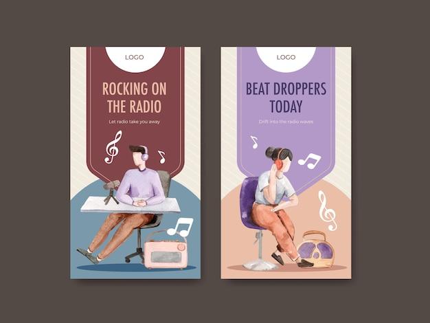 Шаблон instagram с концептуальным дизайном всемирного дня радио для социальных сетей и акварельной иллюстрацией цифрового маркетинга