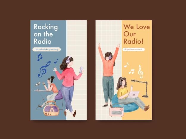 ソーシャルメディアとデジタルマーケティングの水彩イラストの世界ラジオデーのコンセプトデザインとinstagramのテンプレート
