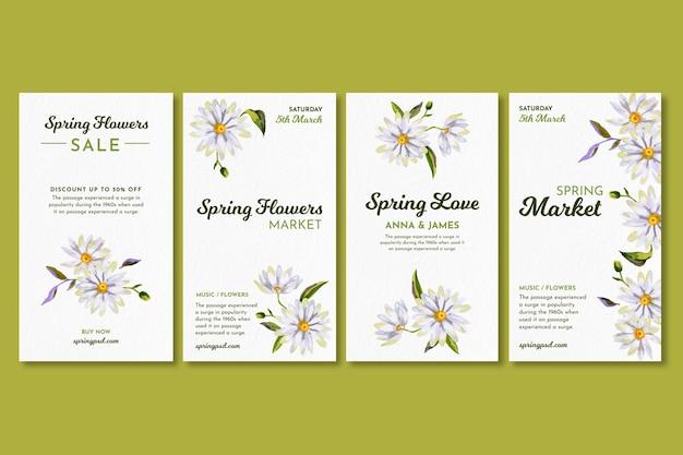 Raccolta di storie ad acquerello di instagram per la primavera con i fiori