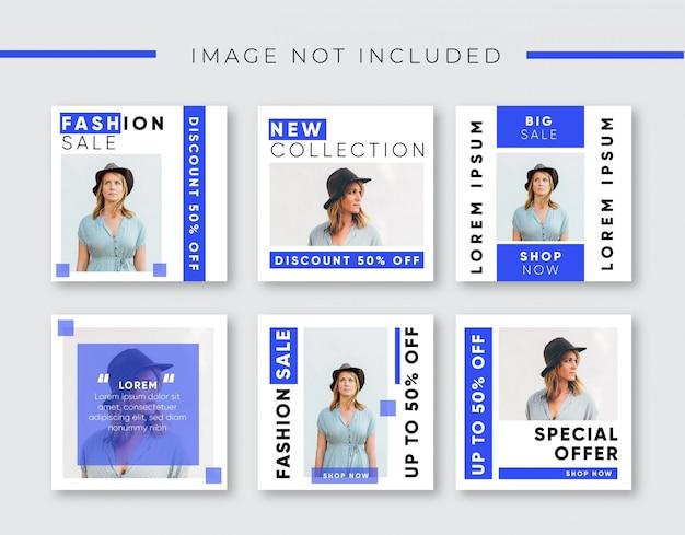 Instagramの投稿のための青いファッション販売バナー