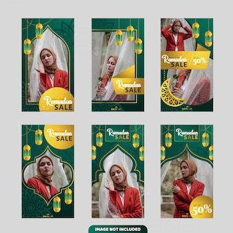 Рамадан продажа баннеров коллекции для истории instagram или флаер