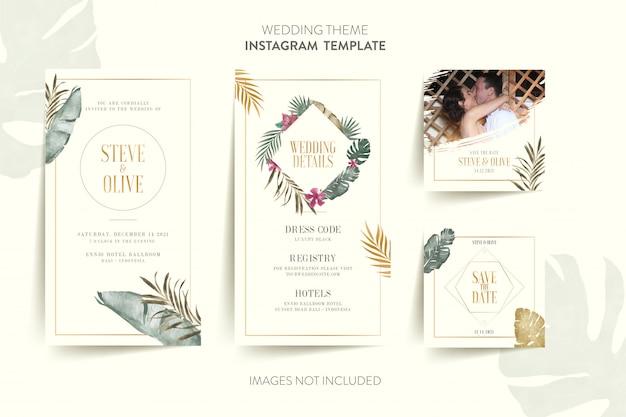 熱帯の花と葉の結婚式の招待カードのinstagramテンプレート