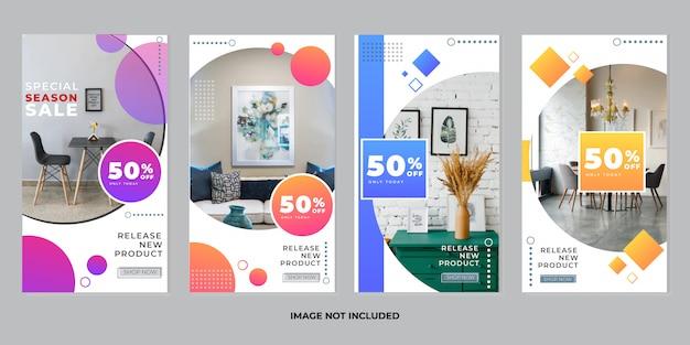 Коллекция шаблонов историй мебели instagram