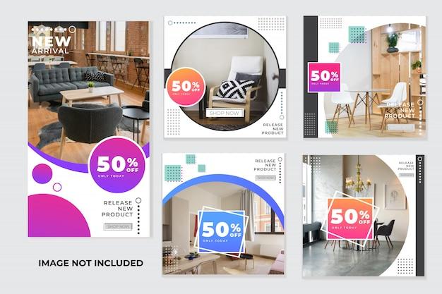 Instagram фид и инстаграм историй мебели, шаблоны