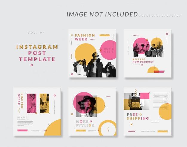 女性ファッションのミニマリストソーシャルメディアinstagram投稿テンプレート