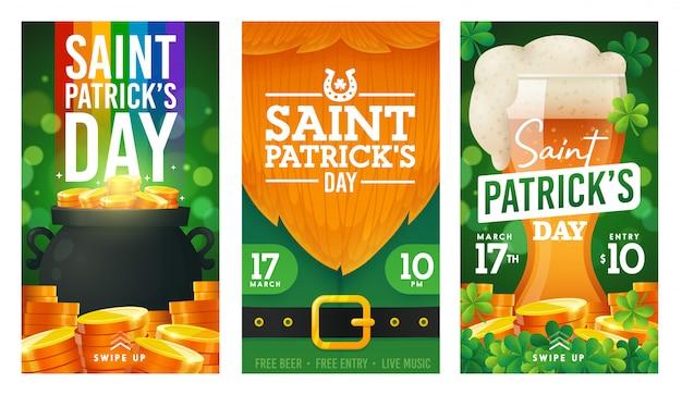 День святого патрика, баннер instagram, шаблон рассказов