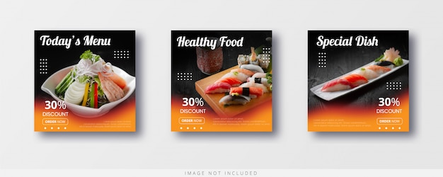 ソーシャルメディアinstagram食品販売とバナーテンプレート
