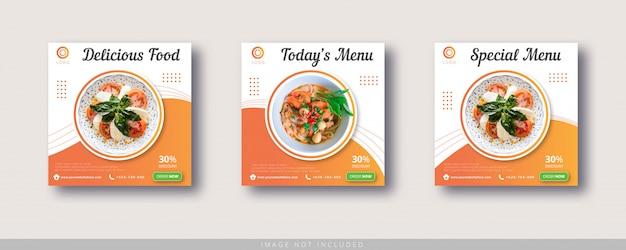 食品販売instagramの投稿とソーシャルメディアのバナーテンプレート