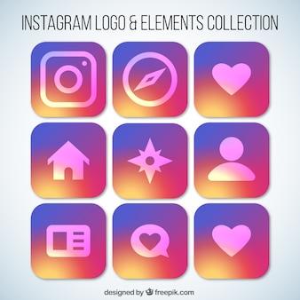 Instagram логотип коллекции элемент