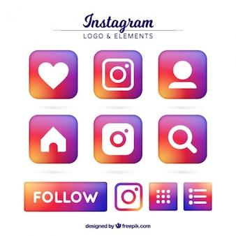 Instagramのアイコンのカラフルなセット