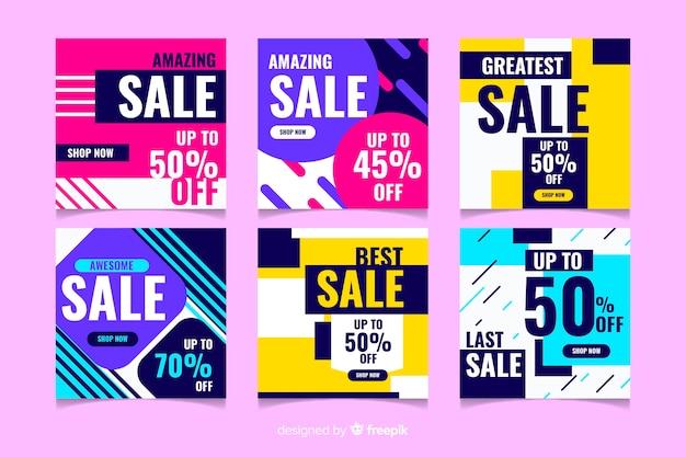 Красочные абстрактные продажи instagram пост коллекция