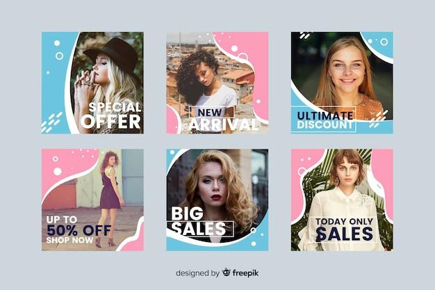 写真とカラフルな抽象的な販売instagramポストコレクション