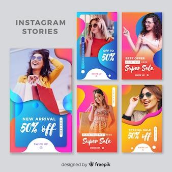 Красочные абстрактные продажи instagram истории с фото