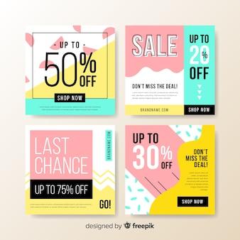 Красочные абстрактные продажи instagram пост коллекции баннеров