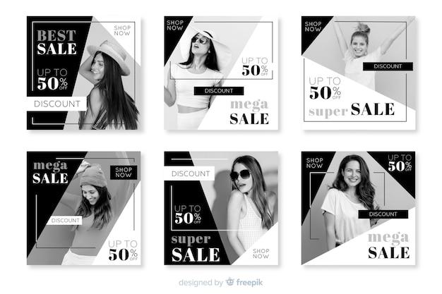 Красочные абстрактные продажи instagram пост коллекция с изображением