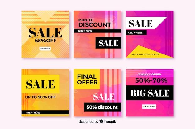 Красочные абстрактные большие продажи instagram пост коллекция