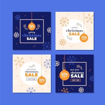 Красочные рождественские продажи instagram пост коллекция
