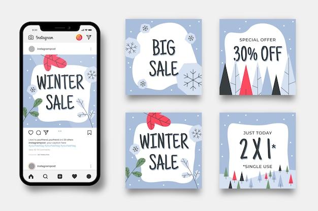 Зимняя распродажа instagram пост набор