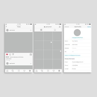 Шаблон интерфейса профиля для instagram
