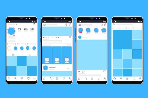 Шаблон интерфейса профиля instagram с мобильным дизайном