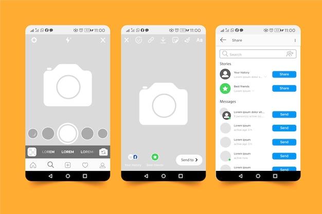 Концепция шаблона интерфейса instagram истории