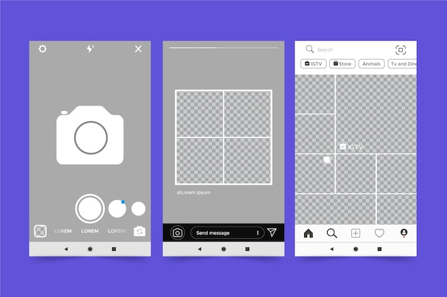 Тема интерфейса в instagram для шаблона