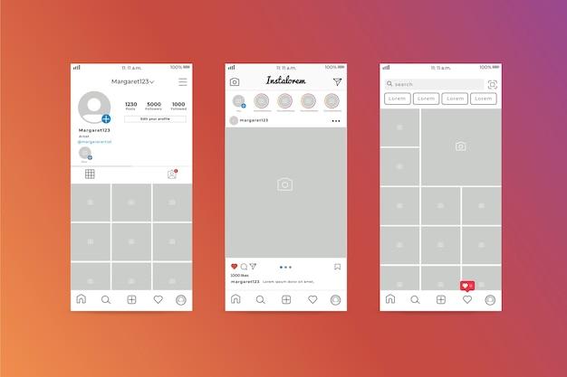 Шаблон интерфейса профиля instagram
