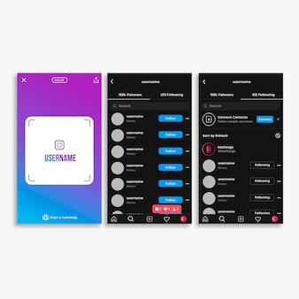 Шаблон для интерфейса профиля instagram