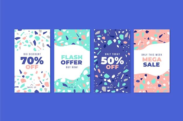 Симпатичный дизайн терраццо рисованной стиль продажи сообщений instagram