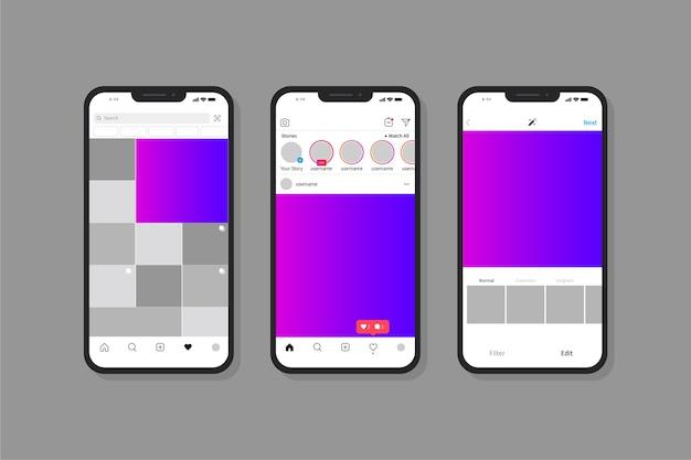 Instagram интерфейс с мобильным телефоном