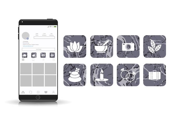Instagramの大理石のハイライトのコレクション