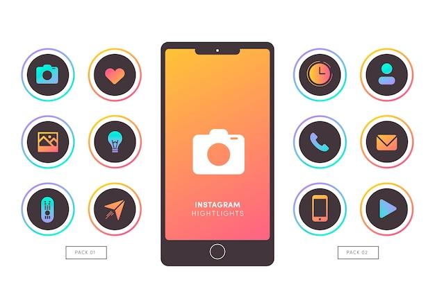 Instagramのグラデーションストーリーのハイライト