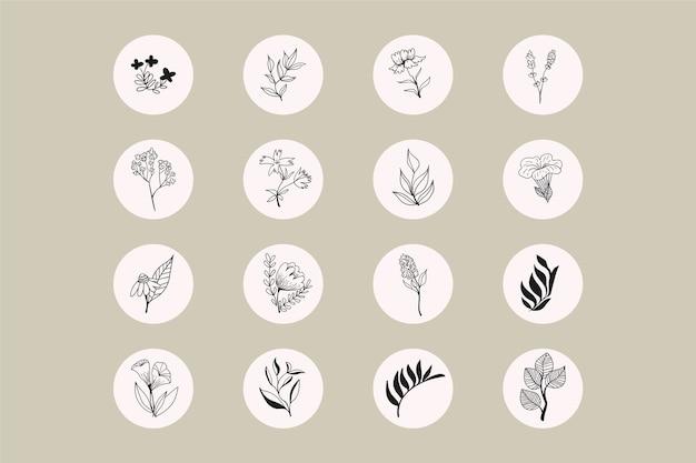Instagramの手描き花物語のハイライト
