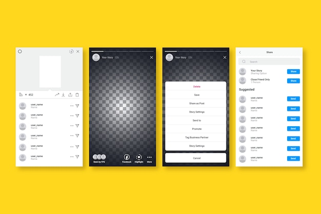Набор шаблонов интерфейса для instagram-историй