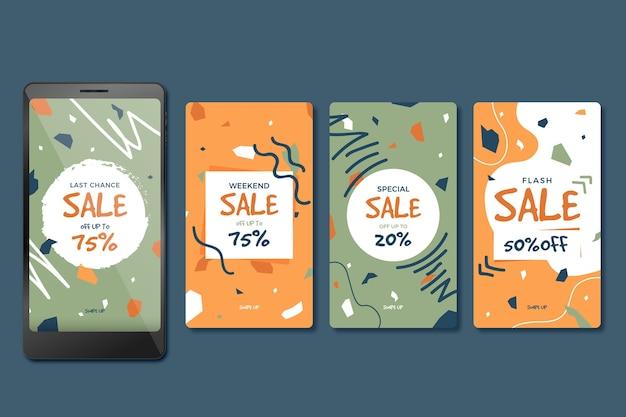 Продажа рассказов instagram в стиле терраццо