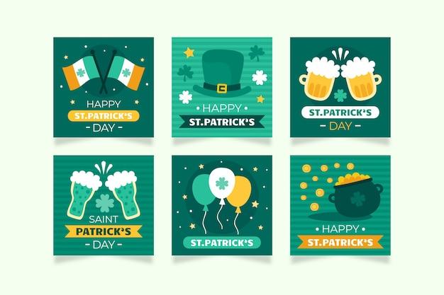 聖パトリックの日アイルランドの伝統的なイベントinstagramポストセット