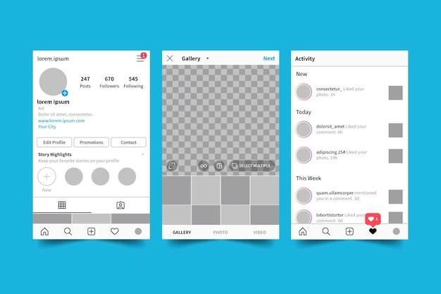 Пакет шаблонов интерфейса для профиля instagram