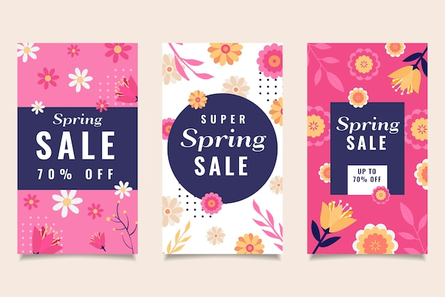カラフルな花と葉の春セールinstagram物語コレクション