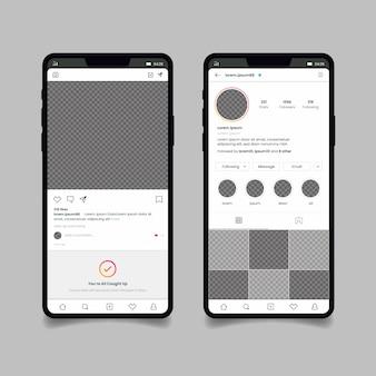 Шаблон интерфейса профиля instagram с мобильным телефоном