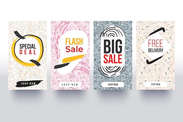 Коллекция рассказов об instagram продаж в стиле рисованной