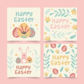 カラフルな卵と葉イースターinstagramポストコレクション