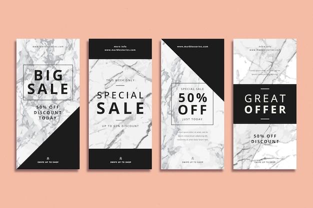 Абстрактные красочные истории продажи instagram в мраморном стиле коллекции