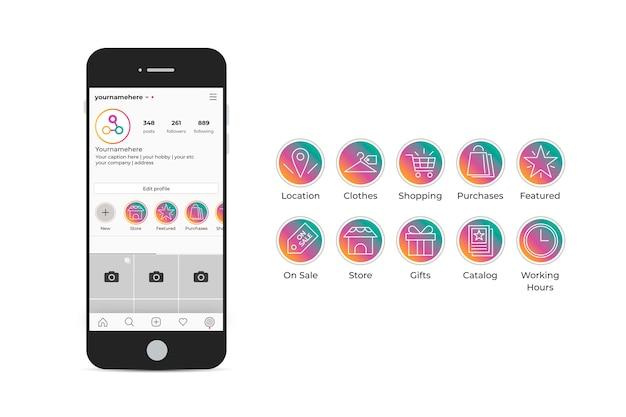 グラデーションinstagramのハイライトセット