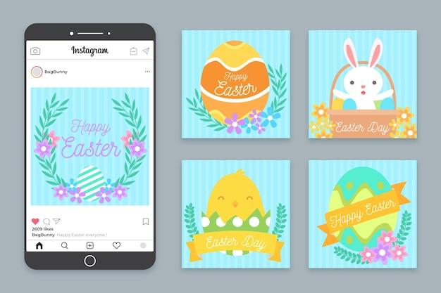 Коллекция пасхальных дней иллюстрированных instagram сообщений
