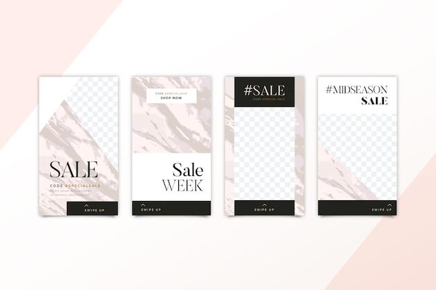 Мраморный стиль для продажи продуктов в коллекции историй instagram
