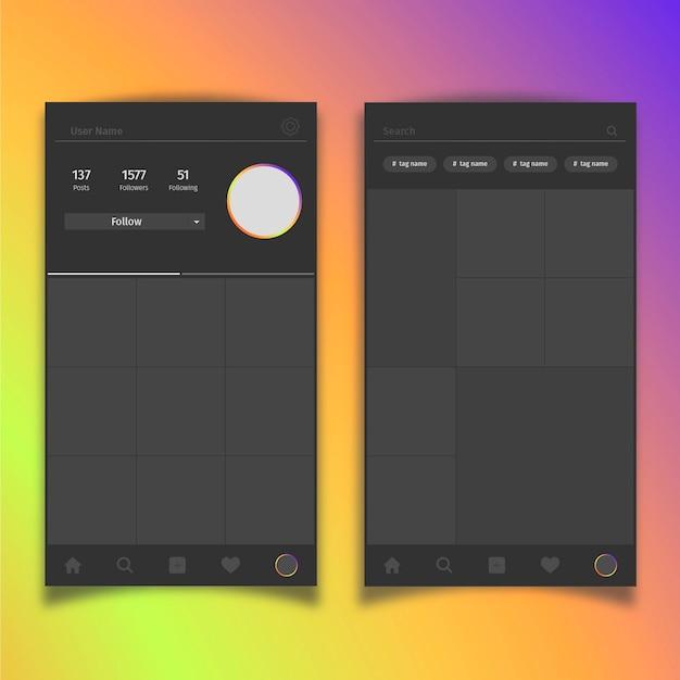 Шаблон интерфейса профиля instagram с фотографиями и выделением места