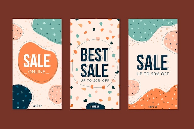 Продажа рассказов instagram в стиле терраццо и рисованной