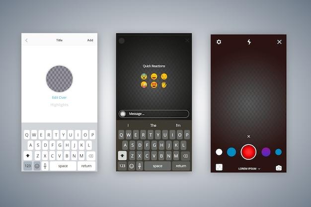 Коллекция шаблонов интерфейса для instagram-историй